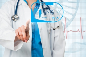 composite of docter pointing at healthcare graphics